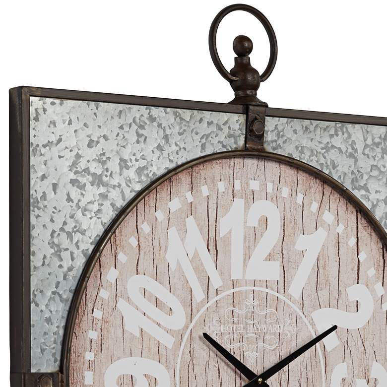 "Hotel Hayward 33"" High Wood and Metal Wall Clock more views"
