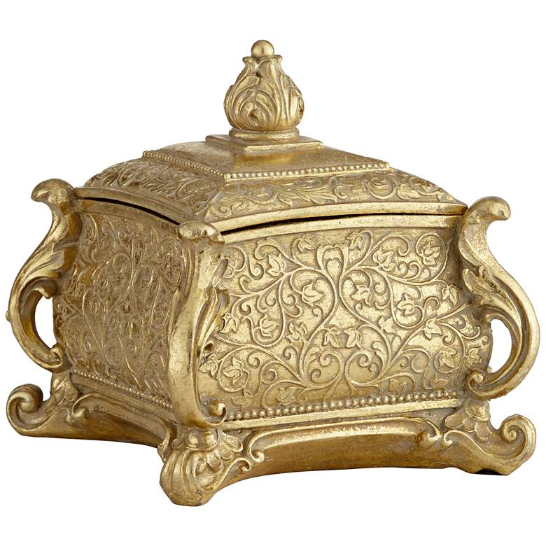 Woolley Square Antiqued Gold Jewelry Box more views