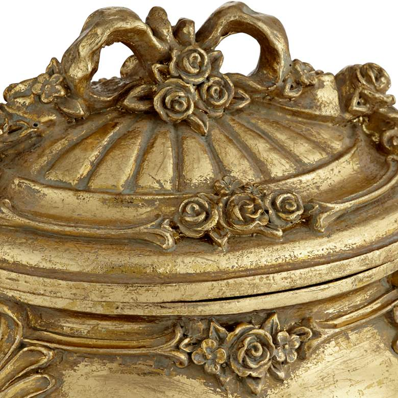 "Keiron 5"" High Round Antiqued Gold Jewelry Box more views"