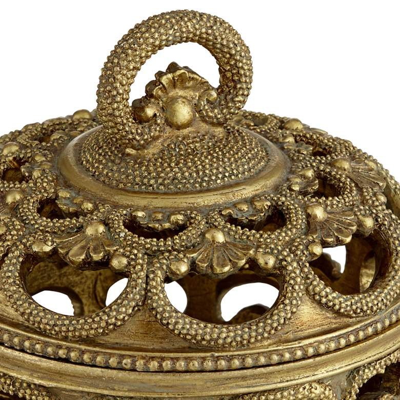 Riya Antiqued Gold Openwork Jewelry box more views