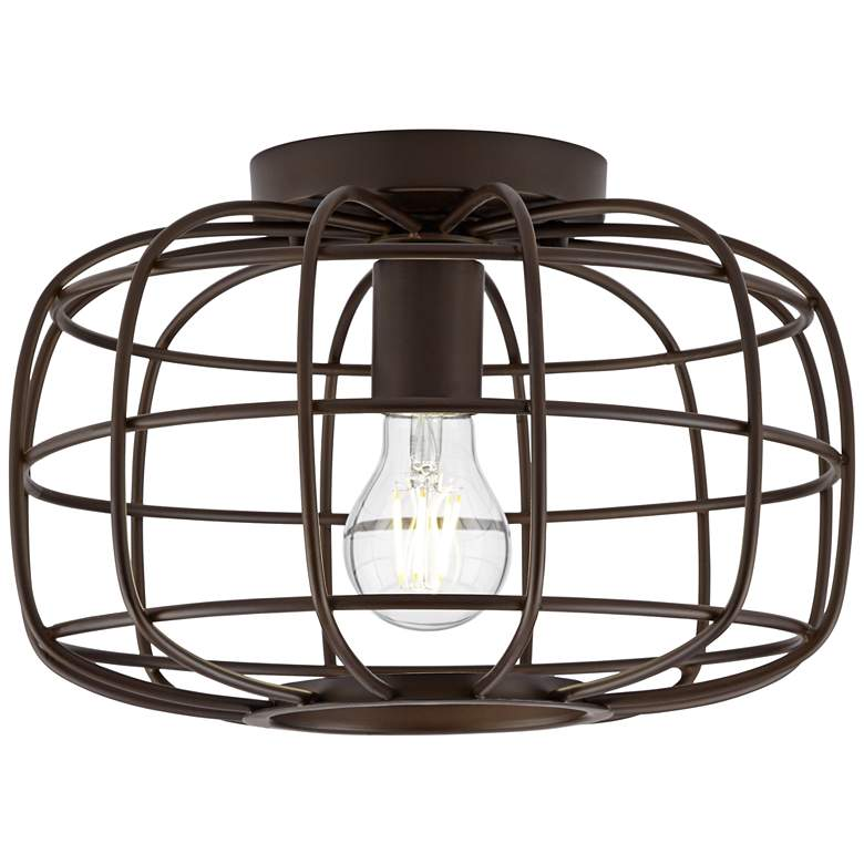 "Epstein 12"" Wide Oil-Rubbed Bronze Caged Ceiling Light more views"