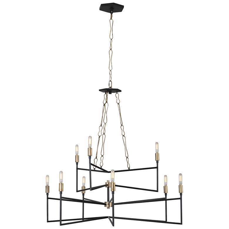 "Varaluz Bodie 36""W Havana Gold and Carbon 9-Light Chandelier more views"