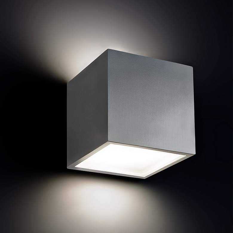 "Bloc 5 1/2"" High Brushed Aluminum LED Outdoor Wall Light more views"