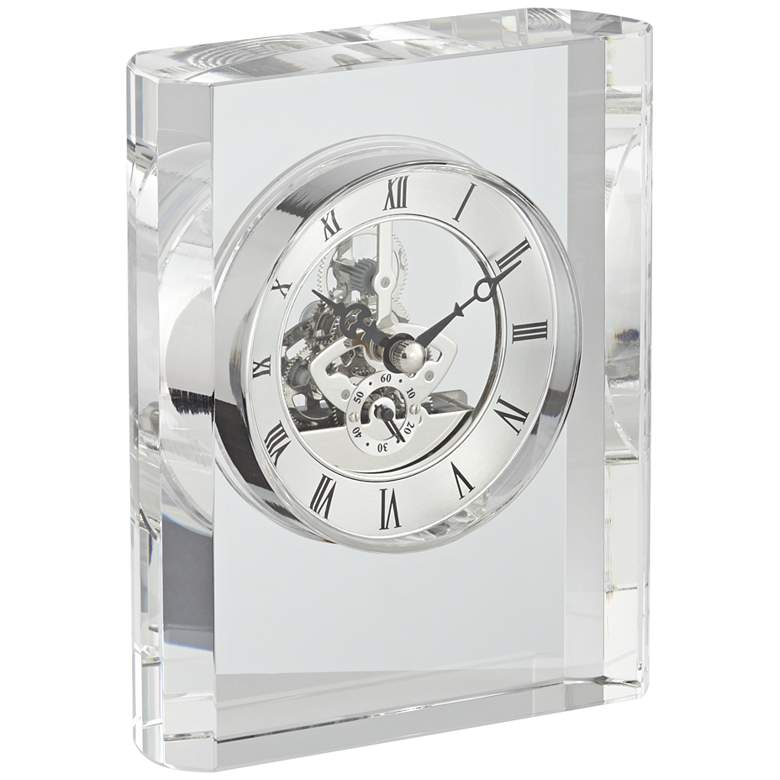 "Aimee 6"" High Rectangular Crystal Table Clock more views"