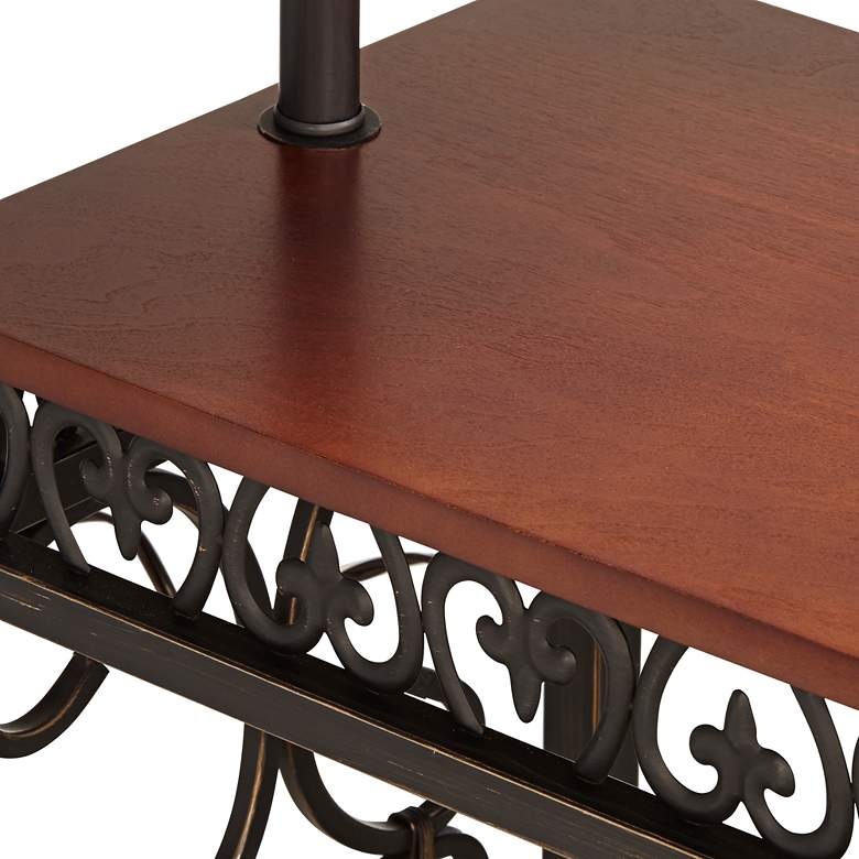 Travata Cherry Wood End Table with Floor Lamp more views