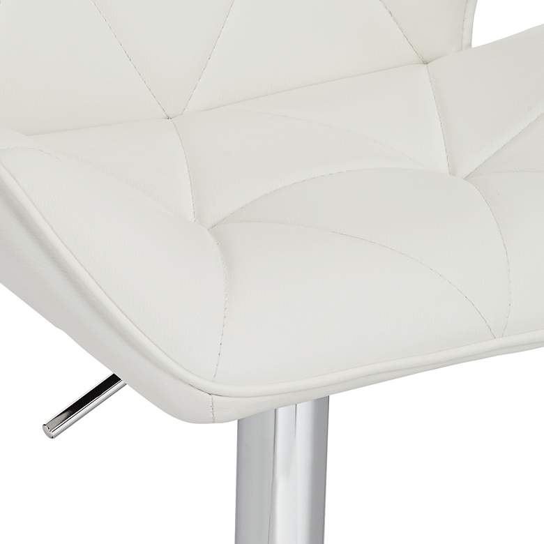 Boulton White Faux Leather Adjustable Swivel Bar Stool more views
