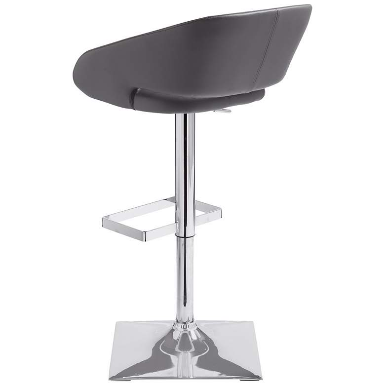 Gustavo Chrome and Gray Adjustable Swivel Bar Stool more views