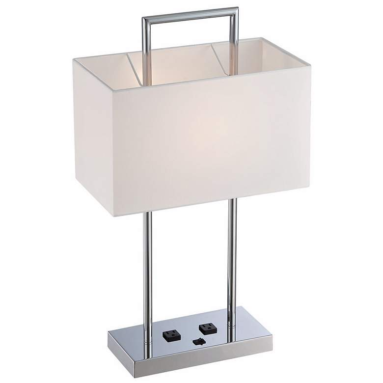 Lite Source Jaymes Chrome Desk Lamp with Outlets more views