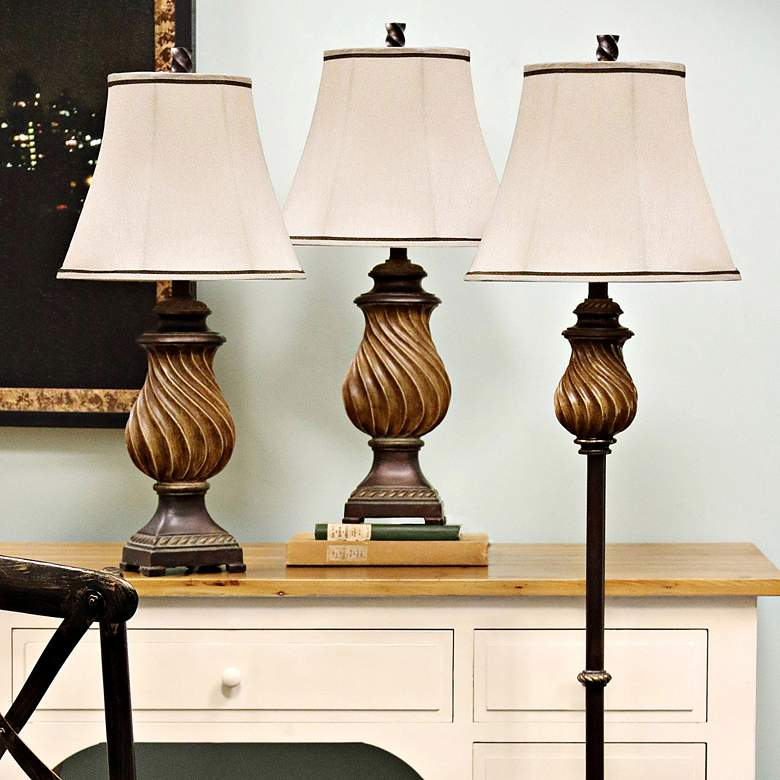Toffee Wood 3-Piece Table Lamps and Floor Lamp Set more views