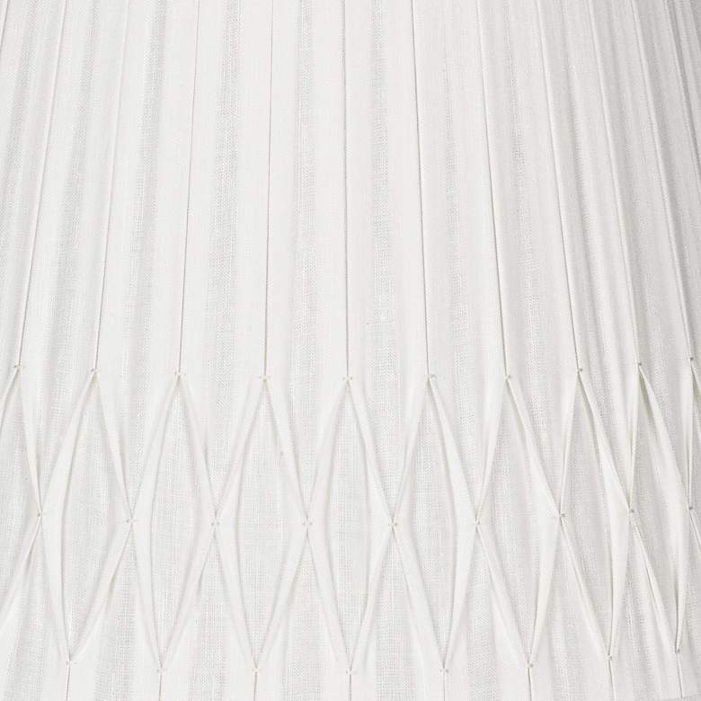 Off-White Bottom Smocked Linen Shade 10x14x10 (Spider) more views
