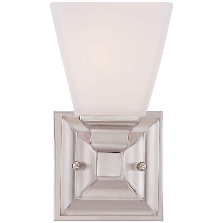 "Mencino-Opal 9"" High Satin Nickel and Opal Glass Wall Sconce more views"