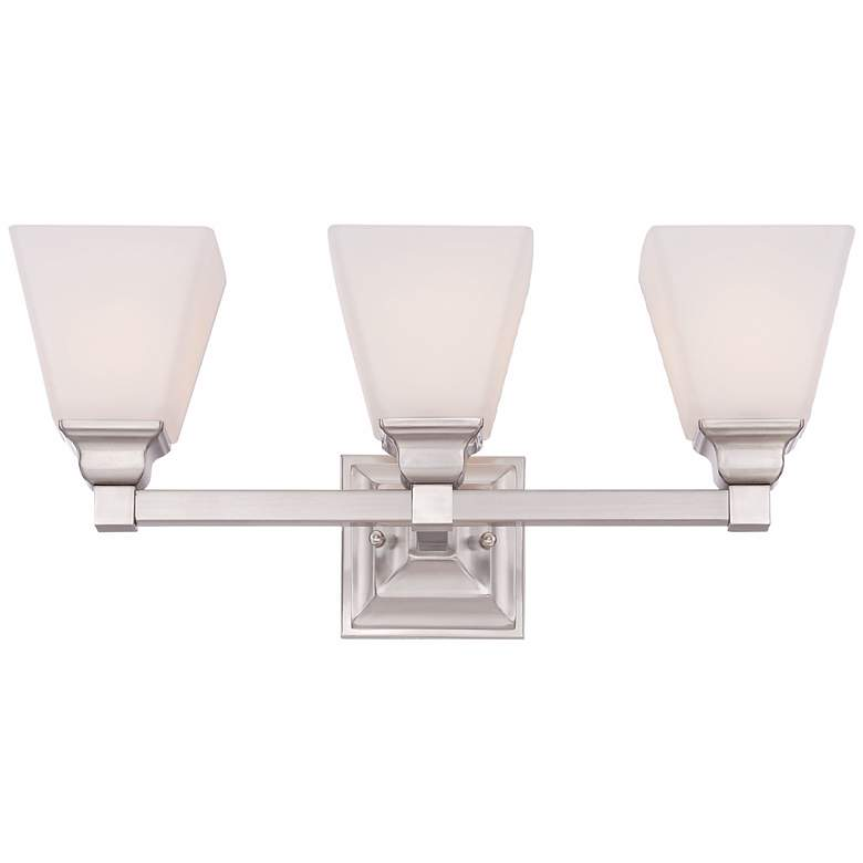 "Mencino-Opal 20"" Wide Satin Nickel and Opal Glass Bath Light more views"