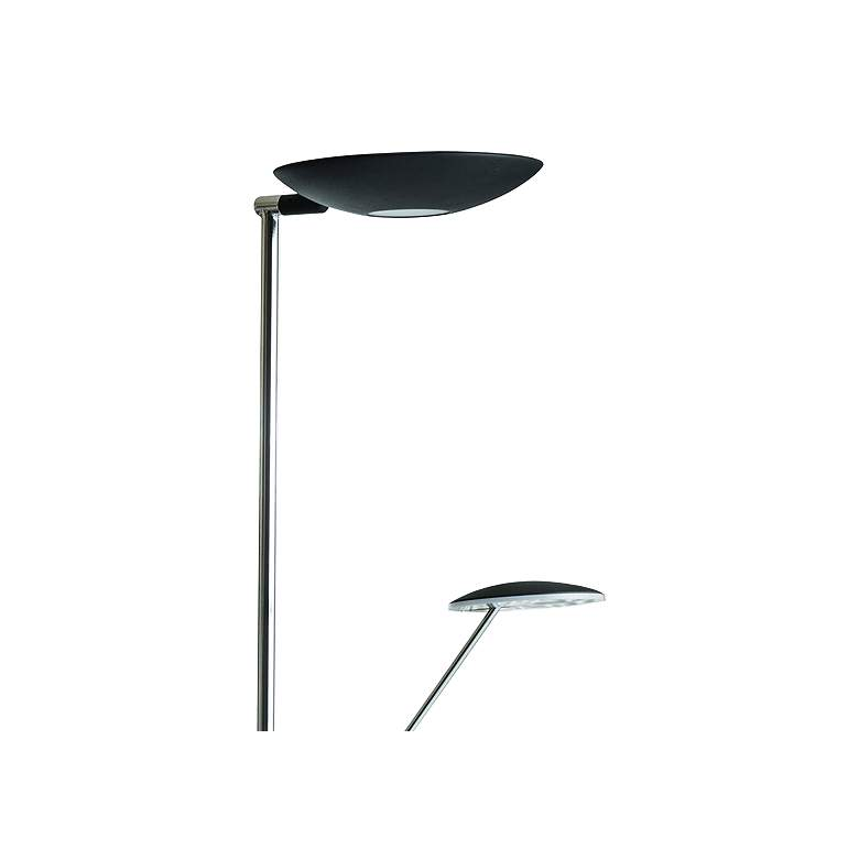 Mother and Son Black Metal LED Torchiere Floor Lamp more views