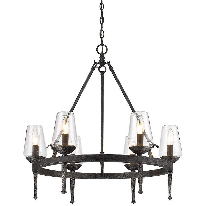 "Marcellis 26"" Wide Dark Natural Iron 6-Light Chandelier more views"