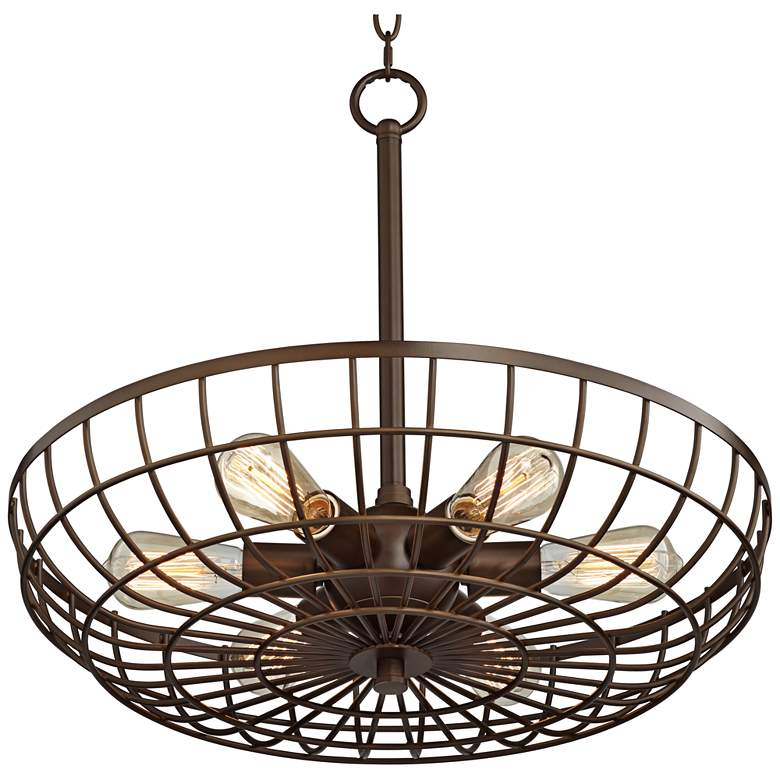 "Crane 22"" Wide Oil-Rubbed Bronze 6-light Cage Basket Pendant more views"