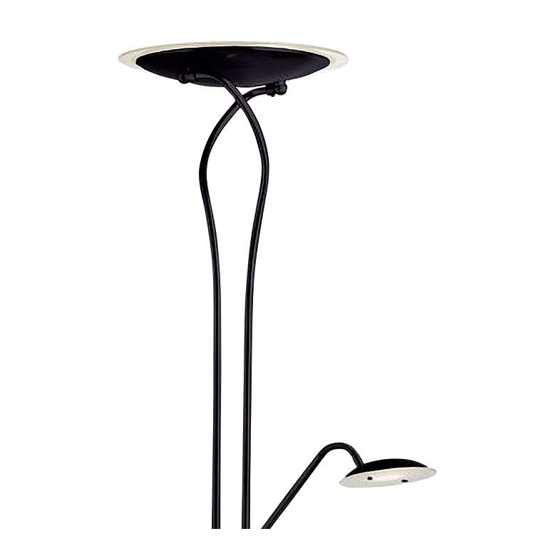 Mother and Son Matte Black Metal LED Torchiere Floor Lamp more views