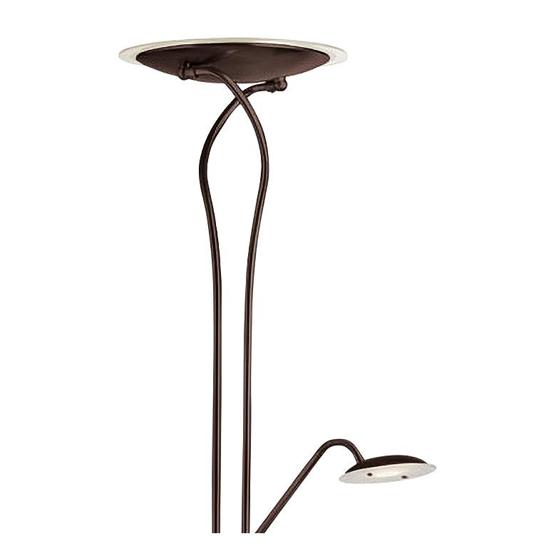 Mother and Son Bronze Metal LED Torchiere Floor Lamp more views