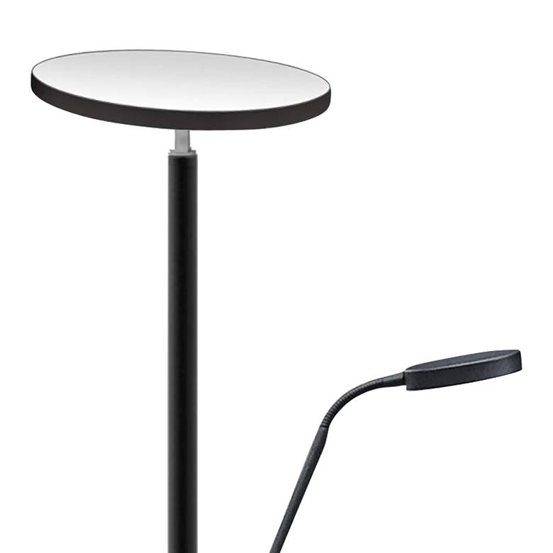 Mother and Son Satin Black Metal LED Torchiere Floor Lamp more views