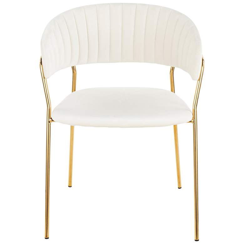 Tania Gold Metal with White Velvet Armchairs Set of 2 more views