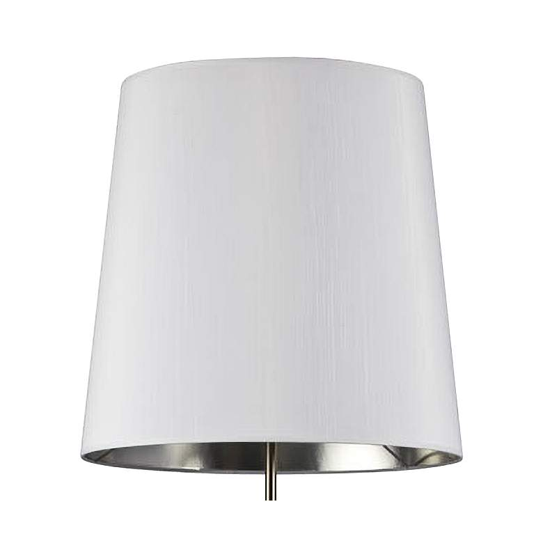 Finesse Satin Chrome Floor Lamp with Small White-Silver Shade more views