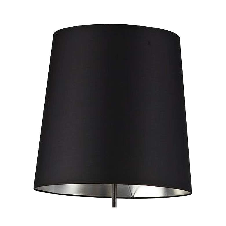 Finesse Matte Black Floor Lamp with Small Black-Silver Shade more views