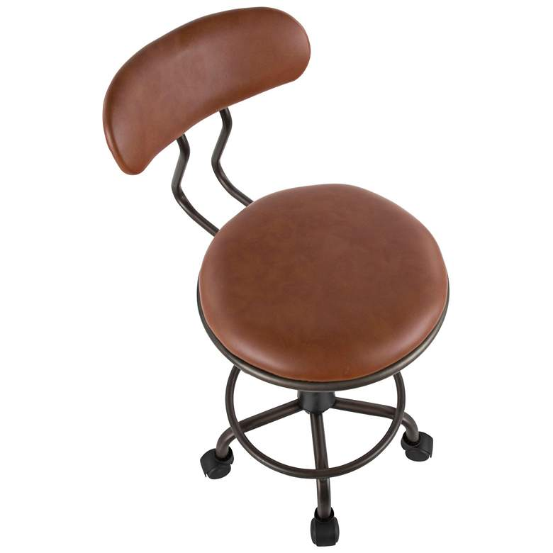 Swift Brown Faux Leather Adjustable Swivel Task Chair more views