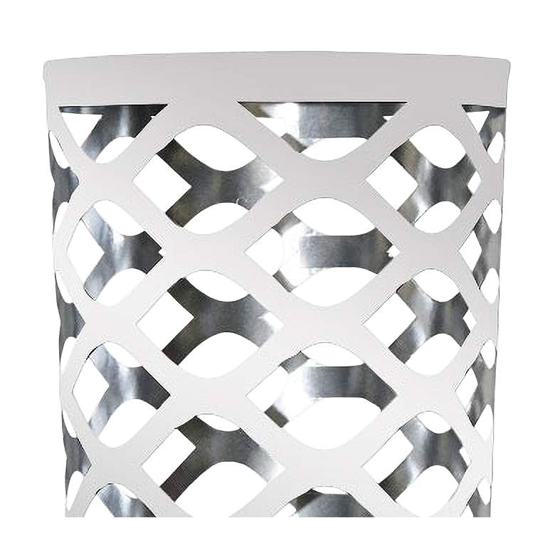 Cut Out JTone White and Silver Accent Table Lamp more views