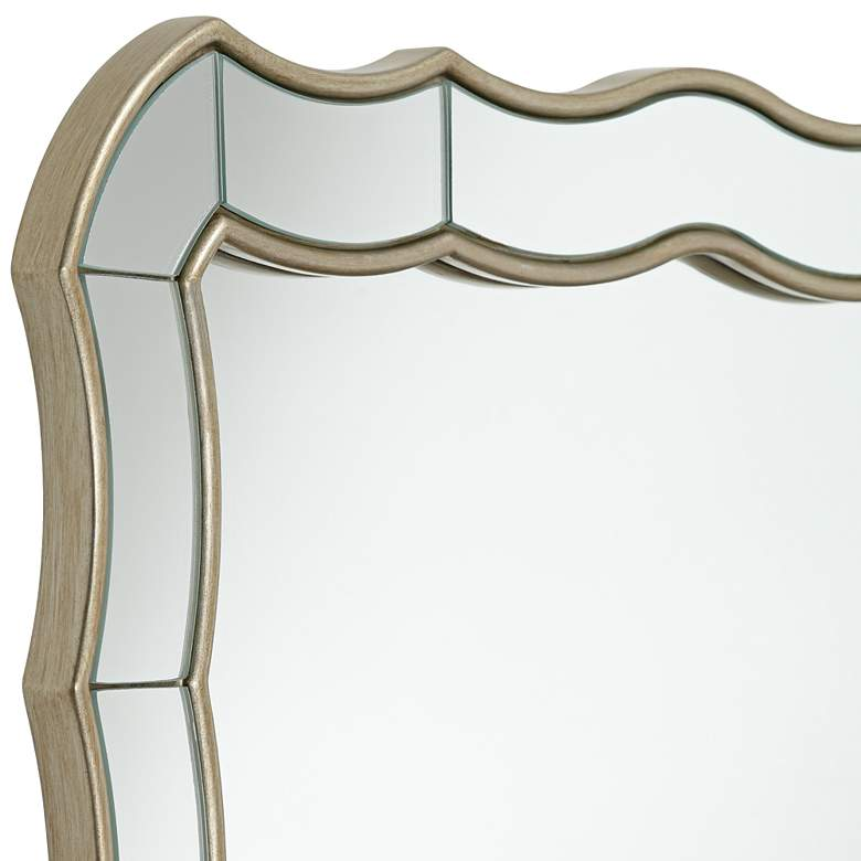 "Janessa Antique Silver 30"" x 40"" Scalloped Wall Mirror more views"