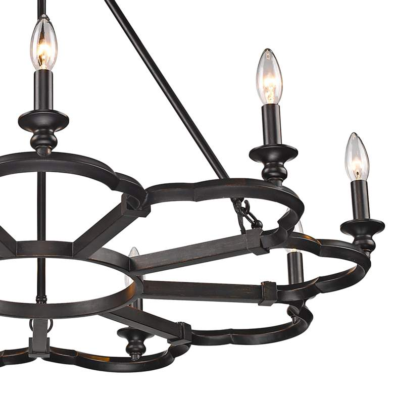 "Saxon 34 3/4"" Wide Aged Bronze 9-Light Chandelier more views"