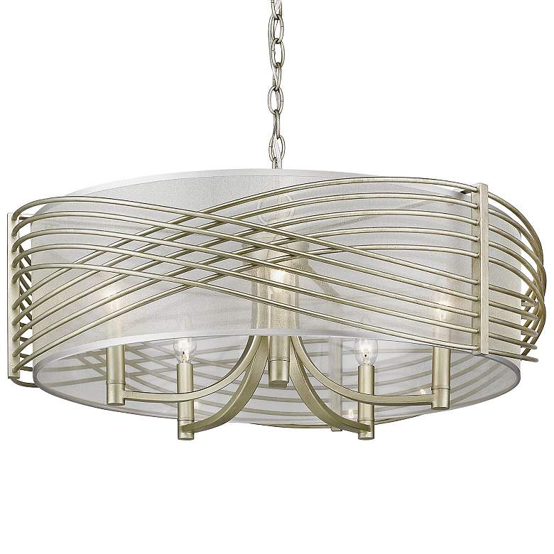 "Zara 25 3/4"" Wide White Gold 5-Light Drum Chandelier more views"