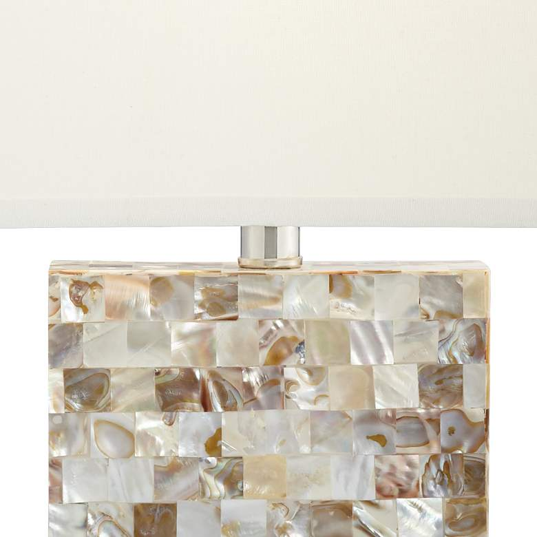 Kathy Ireland Kaira Mother of Pearl Block Table Lamp more views