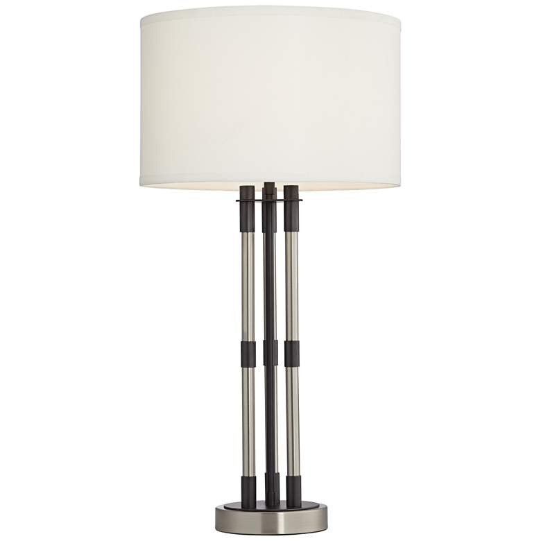 Aiden Brushed Nickel and Gunmetal 3-Column Table Lamp more views