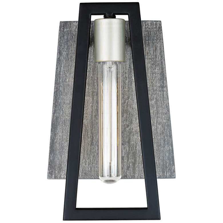 "Varaluz Zag 11"" High Black with Gray Wood Wall Sconce more views"