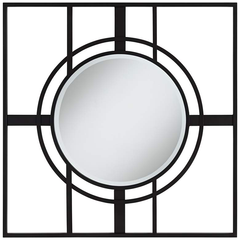 "Uttermost Eric Black 34"" Square Openwork Wall Mirror more views"