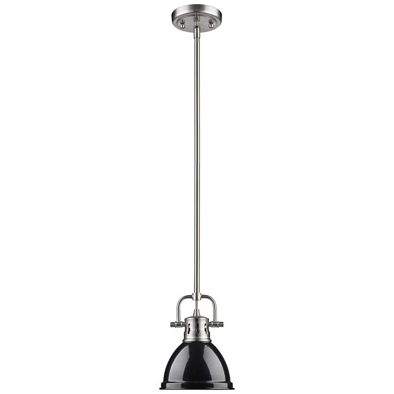 "Duncan 6 1/2"" Wide Pewter and Black Mini Pendant with Rod more views"