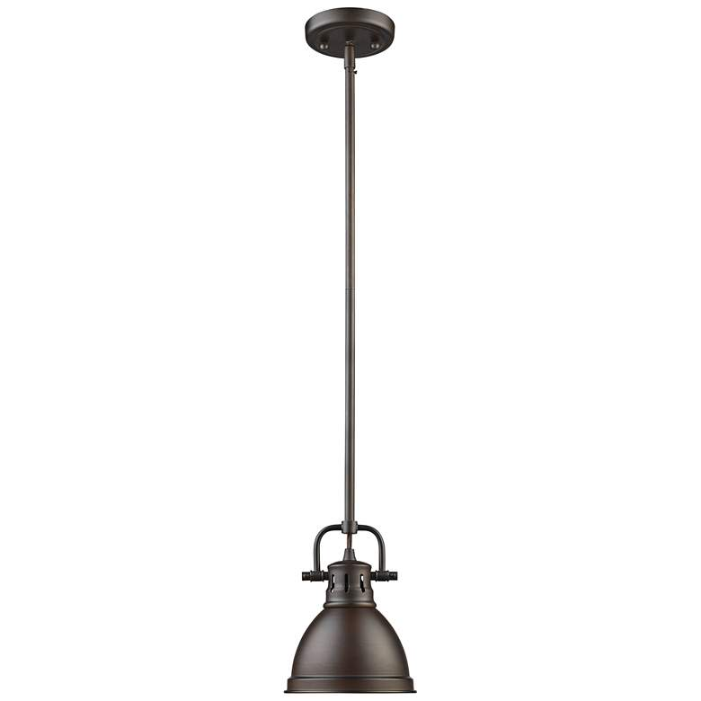 "Duncan 6 1/2"" Wide Rubbed Bronze Mini Pendant with Rod more views"