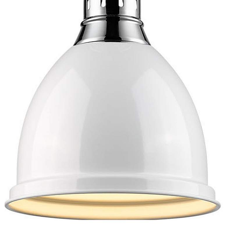 "Duncan 9"" Wide Chrome and White Mini Pendant with Rod more views"