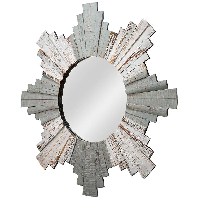 "Varaluz Casa Gray and Whitewash 36"" Sunburst Wall Mirror more views"