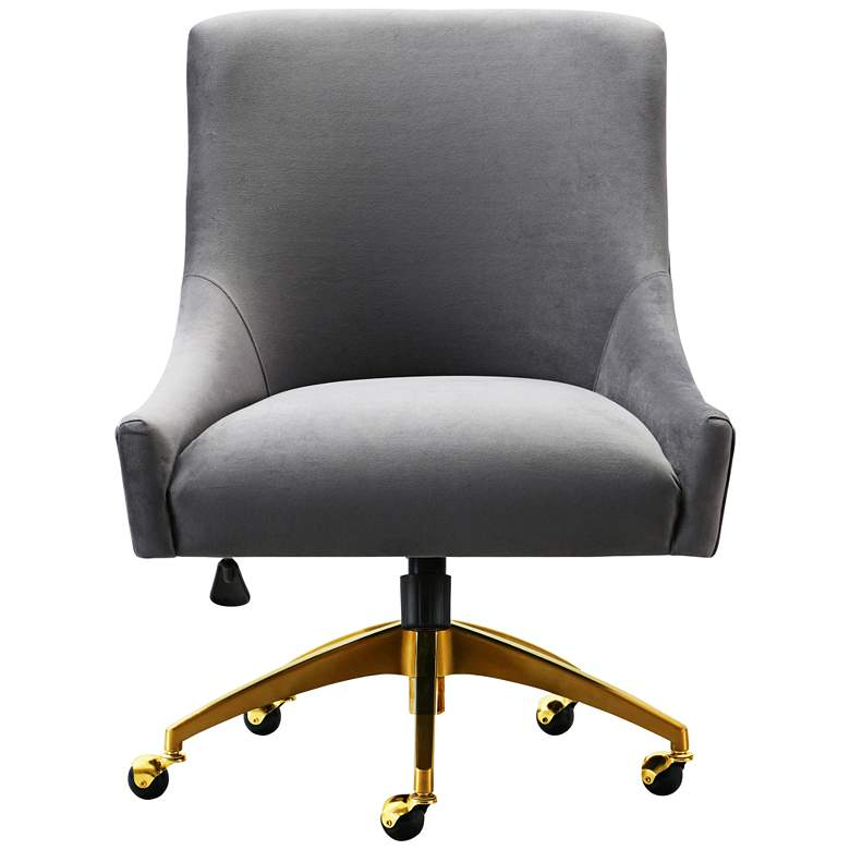 Beatrix Gray Velvet Adjustable Swivel Office Chair more views