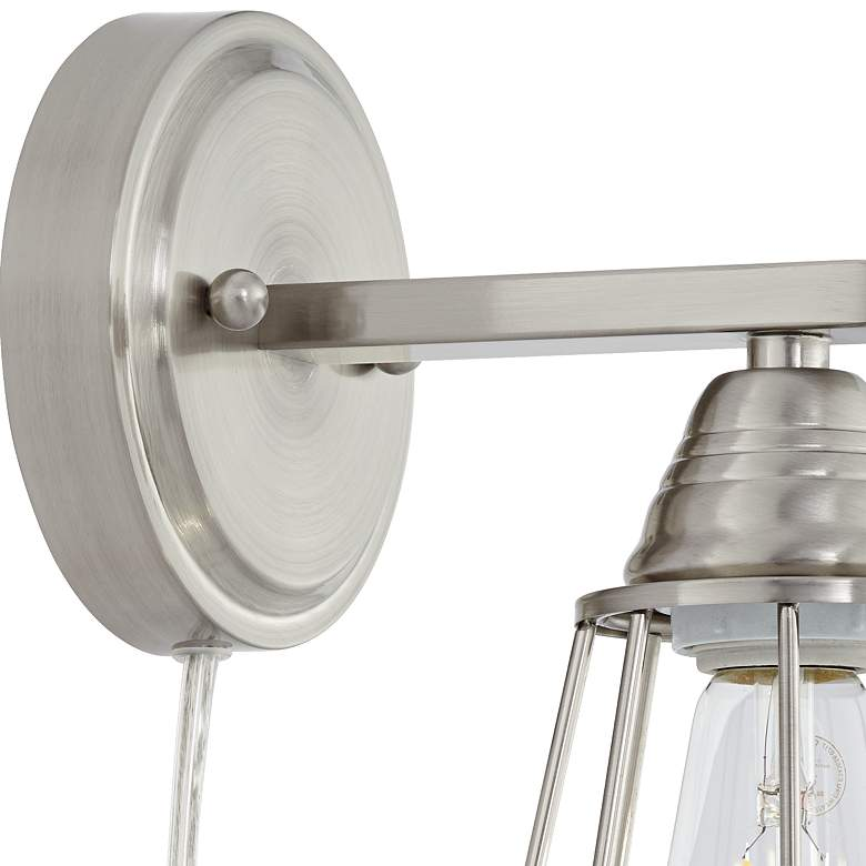 Adelaide Brushed Nickel Cage Pin-Up Wall Lamp more views