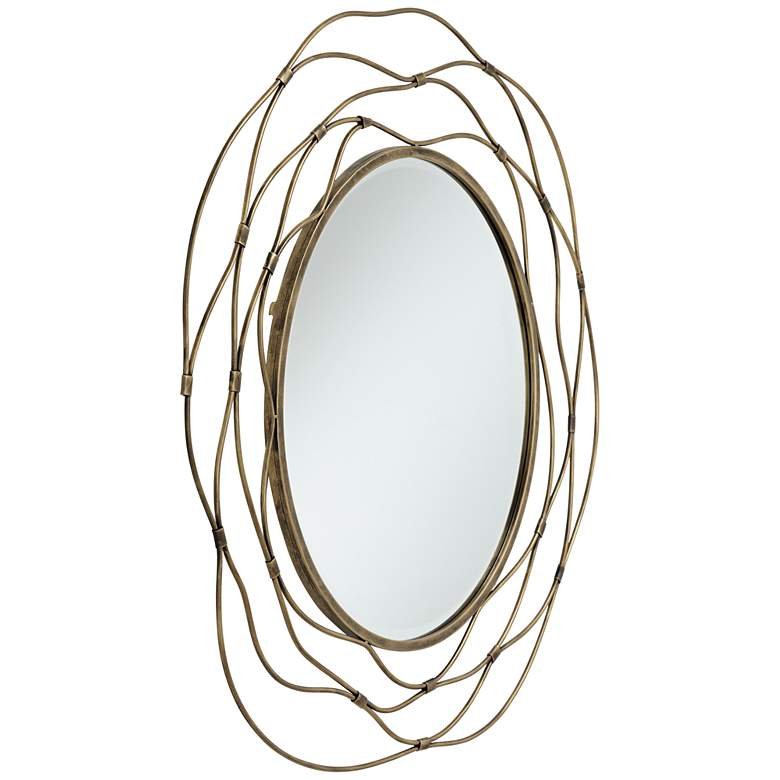 "Trina Antique Gold 36"" Metal Wave Openwork Wall Mirror more views"