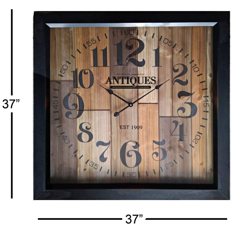 "Antiquity Multi-Color Wood 37"" Square Oversized Wall Clock more views"