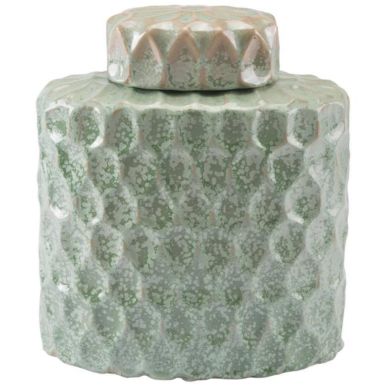"Zuo Lattice Soft Green 13"" High Medium Ceramic Covered Jar more views"