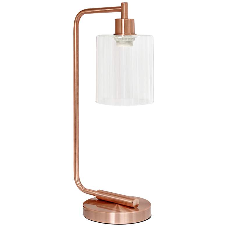 Simple Designs Bronson Rose Gold Lantern Desk Lamp more views