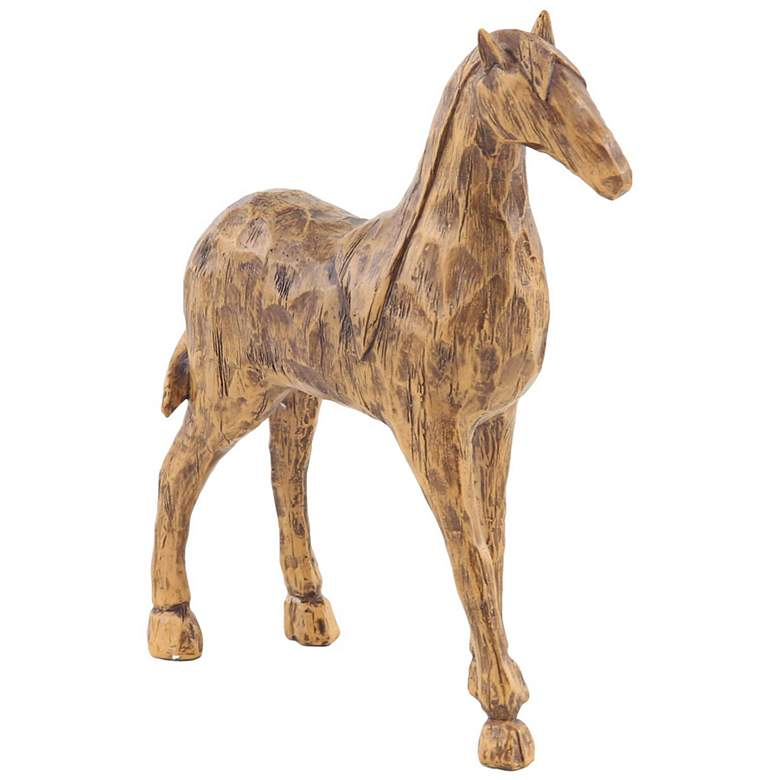 Eclectic Brown Polystone Stylized Horse Figurines Set of 2 more views