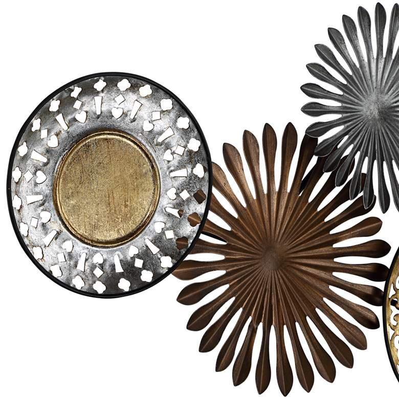 "Sparks and Disks 39 1/4"" Wide Industrial Metal Wall Art more views"