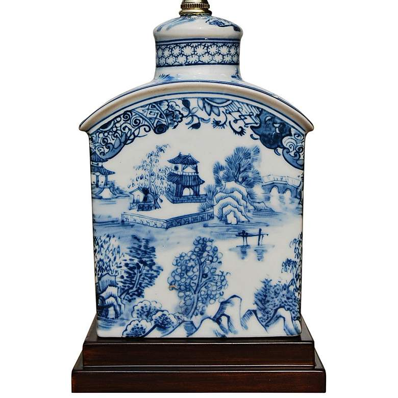 "Elison 17 1/2""H Blue and White Porcelain Tea Jar Table Lamp more views"