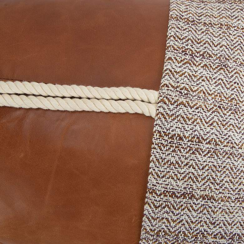 "Brown Color Block 26"" x 14"" Decorative Poly Filled Pillow more views"