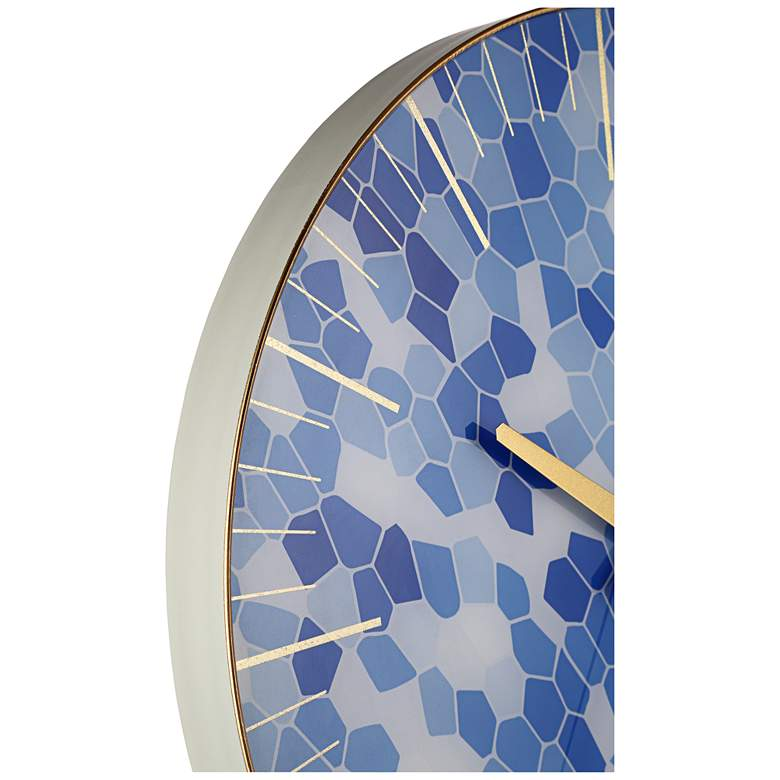 "Tahlia Geometric Blue 17 3/4"" Round Wall Clock more views"