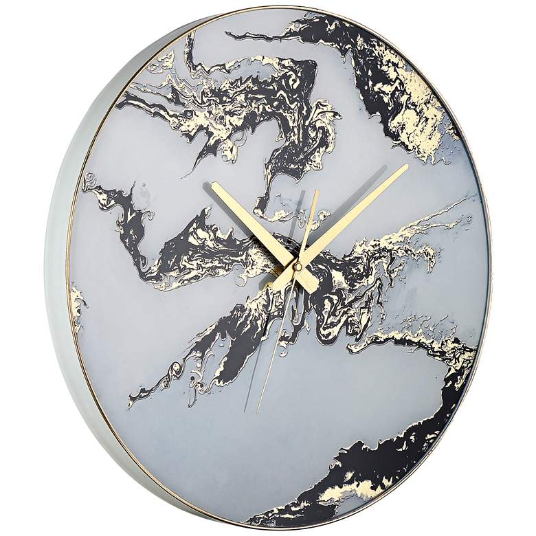 "Fionn Black, White, and Gold 17 3/4"" Round Marble Wall Clock more views"